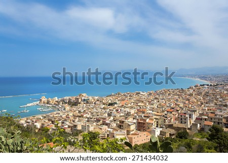 The beautiful view from the Gulf of Castellammare, Trapani,Sicily