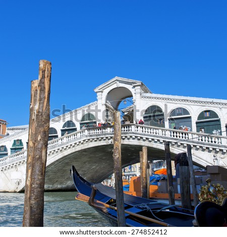 The beautiful view of Rialto's Bridge and the Canal Grande  in Venice, Italy - stock photo