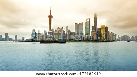 The beautiful view of the Bund in Shanghai, China