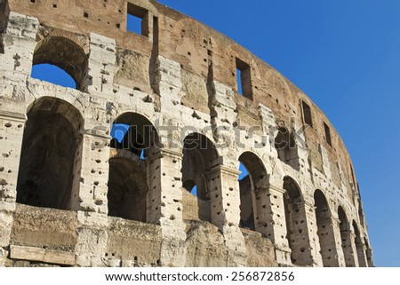 The beautiful view of the Great Colosseum, Rome, Italy - stock photo
