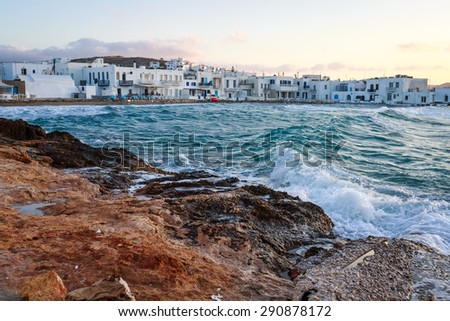 The beautiful village of Naoussa in the island of Paros, Greece - stock photo