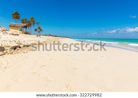 The beautiful white sand beach Playa del Este in La Habana, Cuba - stock photo