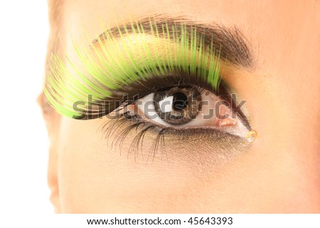 The beautiful woman with bright make-up - stock photo