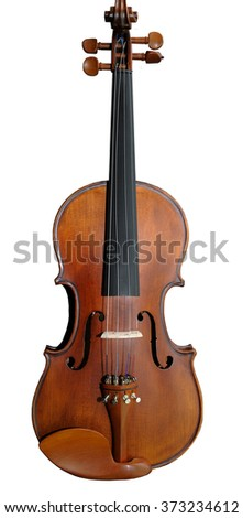 The beautiful wooden violin isolated on white - stock photo