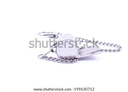 the beautiful world cup whistle with stainless steal ornamental chain on the white background - stock photo
