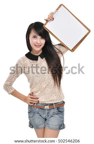 The beautiful young woman carrying a blank clipboard, isolated on white background