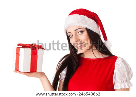 The beautiful young woman in a Santa's cap  with a gift  on a white background. - stock photo