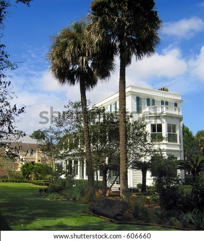 The beautifully groomed grounds of the Major James Ladson house on Meeting Street in Charleston; built 1792 - stock photo