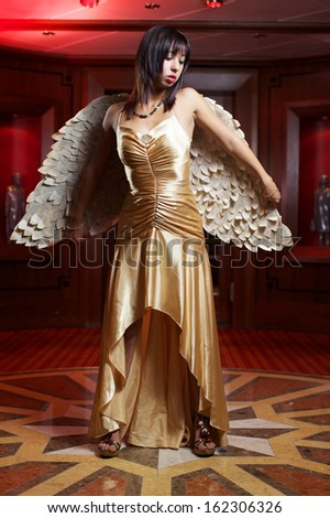 The beauty lady with angel wings