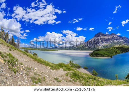 The beauty of Middle Waterton Lake from the hotel at Waterton Lakes National Park in Alberta, Canada. - stock photo