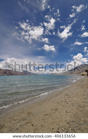 The beauty of Pangong Tso, a high altitude lake in Ladakh, the indian Himalayas