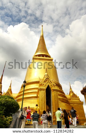 The beauty of Thai architecture in Wat Phra Kaew, Temple of the Emerald Buddha, Bangkok, Thailand. - stock photo
