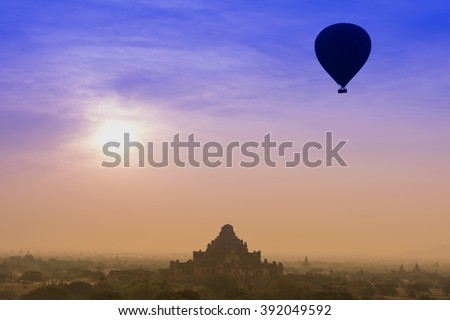 The beauty of the balloon pagoda sea in the morning, Bagan, Myanmar.