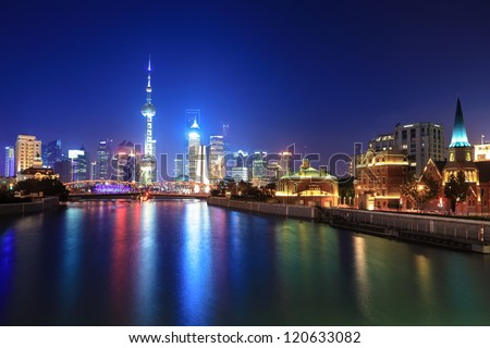 the beauty of the night view of shanghai