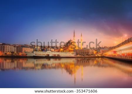 The beauty panorama of Istanbul at a dramatic sunset from Galata Bridge, Istanbul, Turkey - stock photo