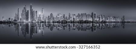 The beauty panorama of skyscrapers in Dubai Marina. black and white, UAE - stock photo