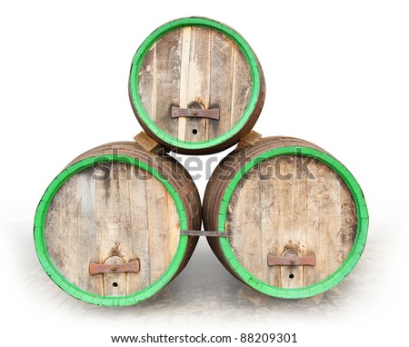 The beer barrels with clipping path on a white background. - stock photo