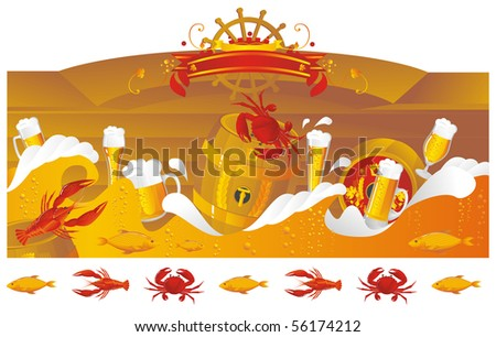 The beer sea with beer kegs, beer mugs and seafood in sea style. - stock photo