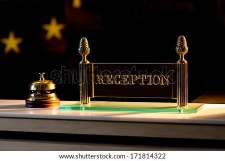 the bell on the reception - stock photo
