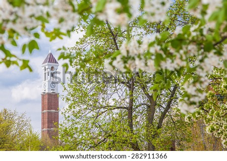 The Bell Tower on the campus of Purdue University during spring