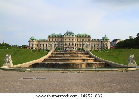 The Belvedere is a historic building complex in Vienna - stock photo