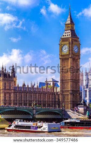 The Ben ben and  Westminster Bridge, London, UK - stock photo