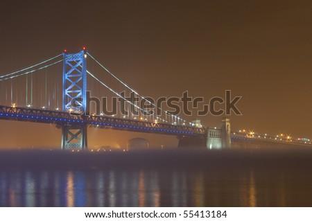 The Ben Franklin Bridge in Philadelphia, PA/Camden, NJ. - stock photo