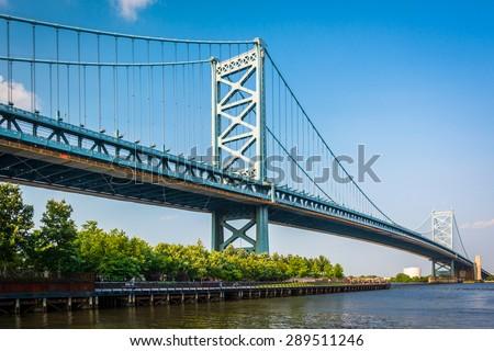 The Benjamin Franklin Bridge, in Philadelphia, Pennsylvania. - stock photo