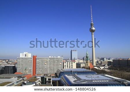 The Berlin TV Tower, the tallest building in Germany. - stock photo