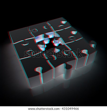 The best choice of puzzles. On a black background. 3D illustration. Anaglyph. View with red/cyan glasses to see in 3D. - stock photo