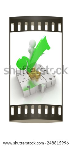 The best choice of puzzles with 3d man on a white background. The film strip
