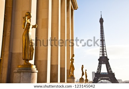 The best place in Paris to have a wonderful view on Eiffel Tower: Trocadero Terrace - stock photo