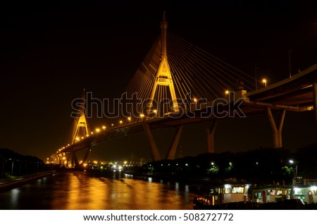 The Bhumibol Bridge, also known as the Industrial Ring Road Bridge is part of the 13 km long Industrial Ring Road connecting southern Bangkok with Samut Prakan Province, Thailand.