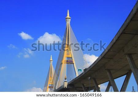 The Bhumibol Bridge, established on 2006 and also called Industrial Ring bridge, across Choa Phraya  in Bangkok, Thailand - stock photo