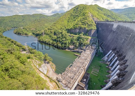 The Bhumibol Dam is a concrete arch dam on the Ping River in  Tak Province, Thailand. Accommodation is available at the dam which is operated by the Electricity Generating Authority of Thailand.