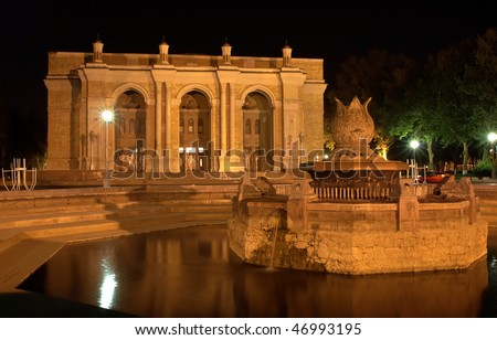 The big Academic Theater in Tashkent at night - stock photo