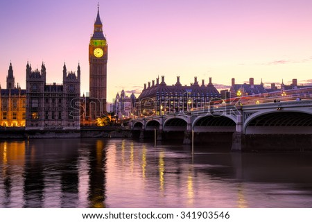 The Big Ben and House of Parliament viewed at sunrise in London, England. - stock photo