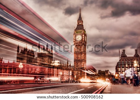 The Big Ben in retro style in  London, UK