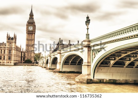 The Big Ben, the House of Parliament and the Westminster Bridge in Autumn, London, UK - stock photo