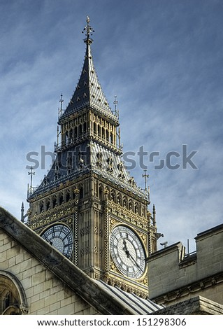 The Big Ben tower of the parliament buildings in London, UK - stock photo