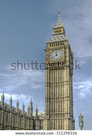 The Big Ben tower of the parliament buildings in London, UK