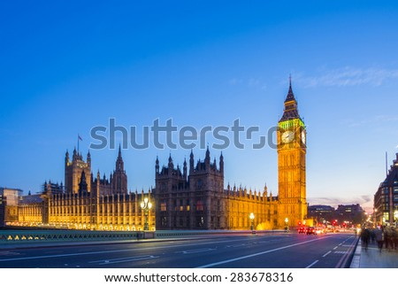 The Big Ben with the Parliament from Westminster Bridge at blue hour, London, UK - stock photo