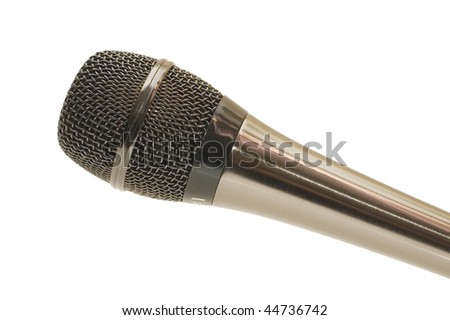 The big black microphone on a white background