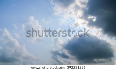 The big cloud and light out side - stock photo