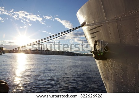 The big Cruise Ship in Stockholm, Sweden in a summer day - stock photo