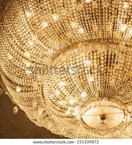 The big crystal chandelier - stock photo