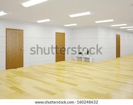 The big empty hall with doors - stock photo