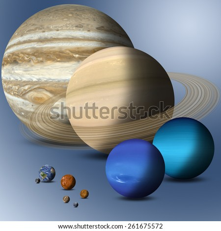 the big family of solar system planets full size comparison Elements of this image furnished by NASA - stock photo