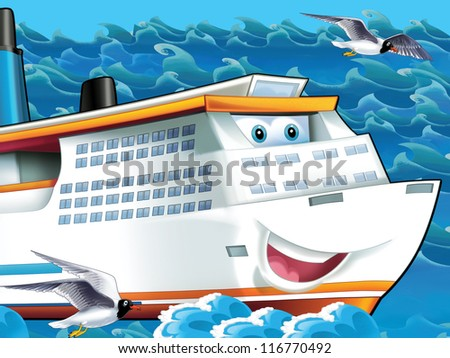 The big, happy cruise liner - illustration for the children - stock photo