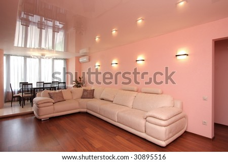 The big leather sofa in a hall